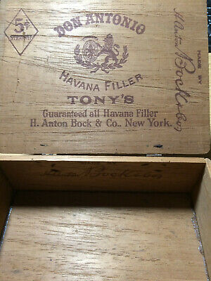 Vintage H. Anton Bock. Wood Cigar Box, Tony's, Collectible