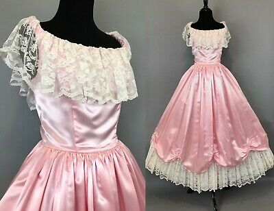 7926f9b28a3ee Vintage 80s pink satin prom dress Southern Belle Civil War XS S womens  small 2