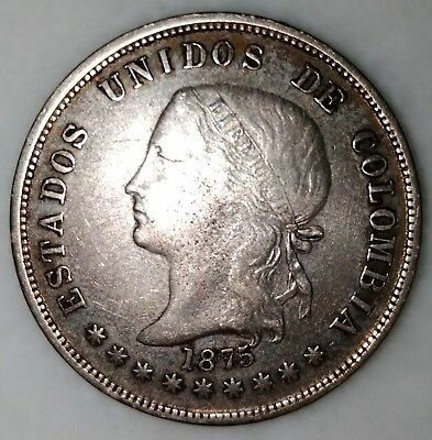 Silver Coin 50 Cents 1875 Bogota United States Of Colombia Km# 177.1