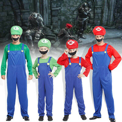 Kids Adults Super Mario Bros Luigi Costume Family Workmen Party Cosplay Clothes