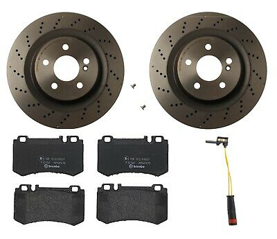 For Mercedes R230 Pair Set of 2 Front Brake Disc Rotors Cross Drilled Genuine