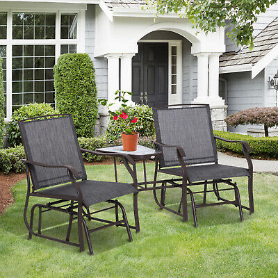 Outsunny Double Glider Chairs Garden Bench With Center Table