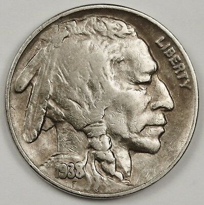1938-d/s Buffalo Nickel. Error Die Break Top of Buffalo Head. High Grade 128640