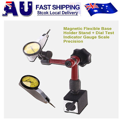Dial Test Indicator Gauge Scale + Flexible Magnetic Base Holder Stand Tool AU