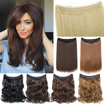 ELASTIC Wire Real Thick Hairpiece 0 Clip in Hair Extensions As Human Halo's Hair