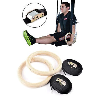 Wood Gymnastic Rings Straps Gym Crossfit Strength Training Ring Fitness Pull Up