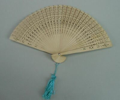 Japanese Wooden Folding Fan Vtg Sensu Openwork Brown Scented Blue Tassel 4D166