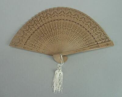 Japanese Wooden Folding Fan Vtg Sensu Openwork Brown Scented White Tassel 4D167