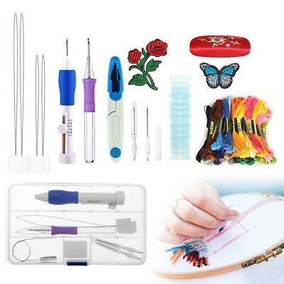 DIY Magic Embroidery Pen Punch Needles Set Sewing Stitch Knitting Craft Tool DE