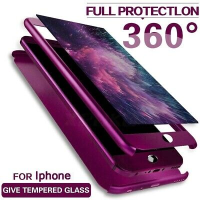 360° Full Body Protection + Tempered Glass Case Cover for iPhone X 8 7 6S Plus