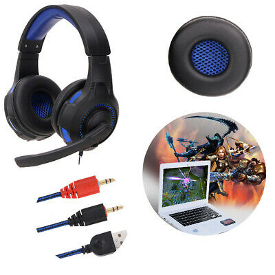 USB 3.5mm Wire With Mic Surround Stereo Gaming Headset Headband Headphone For PC