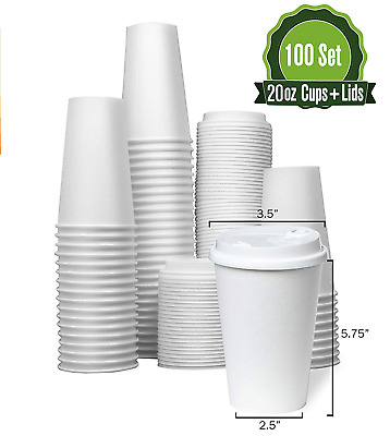Hot White Paper Coffee Cups with Lids [ 20oz - 100 Set ] Disposable Paper Cups