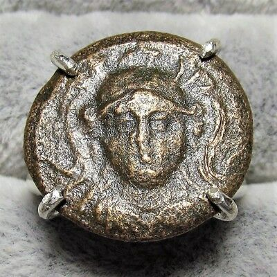 Authentic Ancient Greek Bronze Coin Size 6 Sterling Silver Ring Athena #099