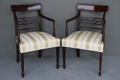 Antique English mahogany armchairs carved Georgian comfortable big seats sturdy