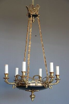 Antique French Empire dish gilt ceiling light cast bronze chandelier 6 arms 1930