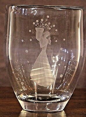 Orrefors crystal vase signed 1946 Art Deco glass original engraved mid century