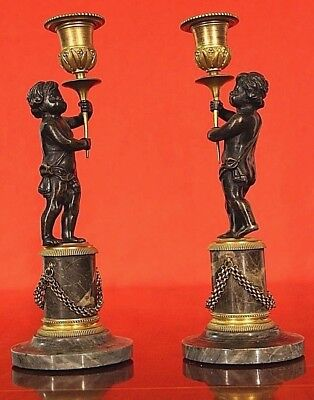 Pair antique French ormolu putto candlesticks marble bronze candelabra Napoleon