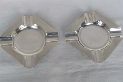 A Superb Vintage Pair Of Solid Sterling Silver Ashtrays Birmingham 1964.