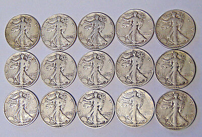Part Set of Walking Liberty Half Dollars 1941-1945 PDS All 15 World War II Coins