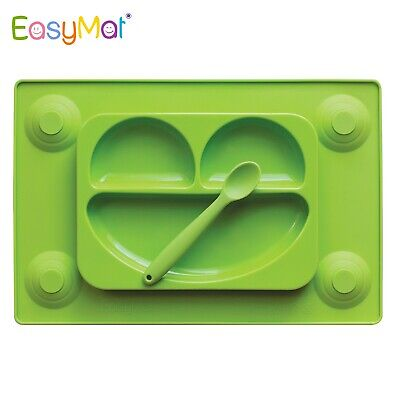 EasyMat Silicone Baby Food Plate Mat Kids Child Tray Non-stick & Soft Spoon NEW
