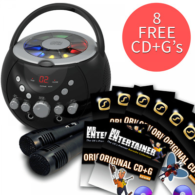 Boombox Karaoke Machine with Bluetooth CD CDG With Disco Party Light & 131 Songs