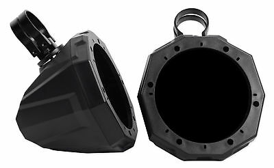 "Rear Speaker Mounting Pods Enclosures 4Pc Black Yamaha Rhino 6.5/"" Round Front"