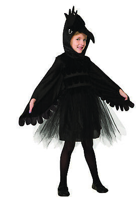Childs Black Raven Crow Bird Animal Dress Tulle Faux Feathered Halloween Costume