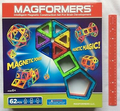 Magformers 62 Pc Set Magnetic Building Shapes 63070 Rainbow Build Construction
