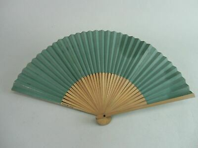 Japanese Paper Folding Fan Vtg Sensu Traditional Bamboo Green Silver 4D149
