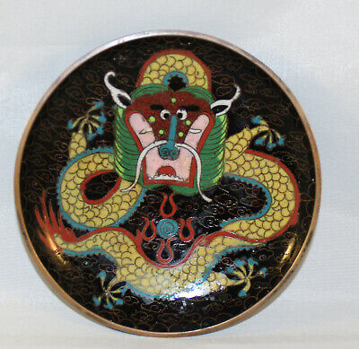 """Antique Chinese Hand Painted Chinese Dragon Design Cloisonne Pin Dish 4.25"""""""