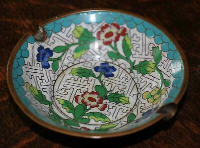 "Antique Chinese Hand Painted Floral Design Cloisonne Ashtray 4.5"" Diameter"