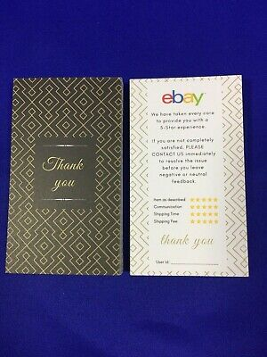 50 Elegant Design ebay Seller THANK YOU Business Cards 5 Five Star Feedback