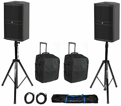 """(2) Mackie DRM212 12"""" 1600w Powered DJ PA Speakers+Rolling Bags+Stands+Cables"""