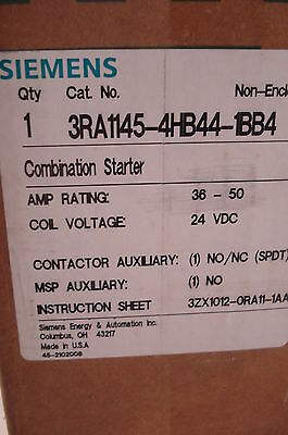 New Siemens 3Ra1145-4Hb44-1Bb4 Combination Starter