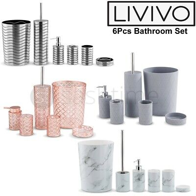 6pc Bathroom Accessories Set Bin Soap Dispenser Toothbrush Tumbler Toilet Brush