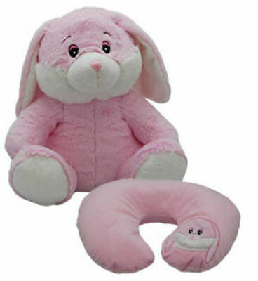 New Cozy Time Rabbit Funky Travel Pal Child's Neck Support Cushion & Soft Toy