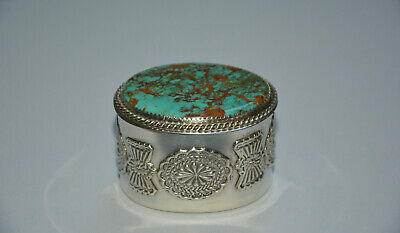 Vintage Navajo Sterling Silber Dose mit Türkis 925 silver box turquoise stone