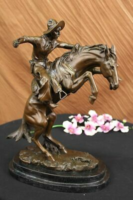 100/% Bronze Statue Remington Bronze cowboy w//Horse Sculpture WOOLY CHAP Figure