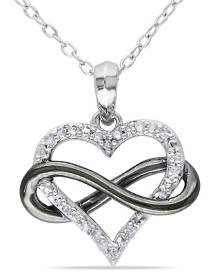 Miadora Two-Tone Sterling Silver 1/10ct TDW Diamond Infinity Heart Necklace TW