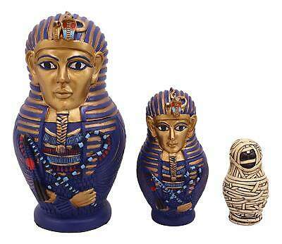 Egyptian Pharaoh King Tut Sarcophagus With Mummy Nesting Dolls 3 pc Figurine Set