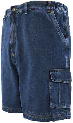 Big & Tall Men's Denim Cargo Shorts by Full Blue Sizes 44 - 72