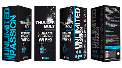 Unlimited Passion Thunderbolt Motorcycle Cleaning Wipes New Water-less Cleaning