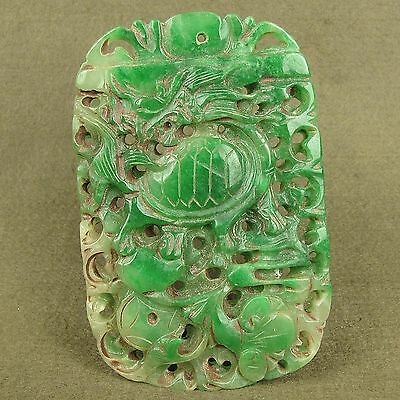 "4.1""Stunning Carved Chinese Antique Jadeite Jade Dragon Totem Decoration Pendant"