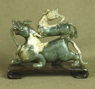 """4.9"""" Large Carved Stunning Old Chinese Antiques Jade Statue Two Dragon"""