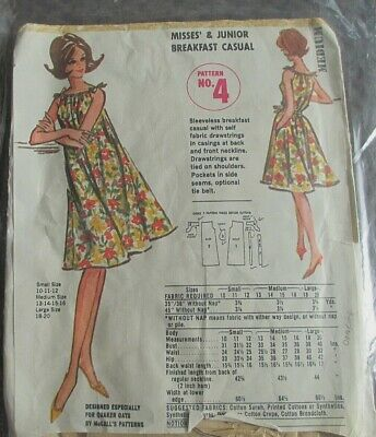 Vintage McCall Sewing Pattern Quaker Puffed Rice Misses Dress SzM 13-16, 1960s