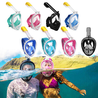 Adult Kids 180° Full Face Diving Mask Anti-Fog Swimming Scuba Breath Snorkel Set