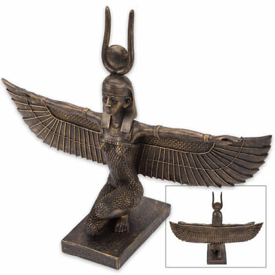 Large Kneeling Winged Ancient Egyptian Goddess ISIS Statue - Hieroglyphs 9 1/4""
