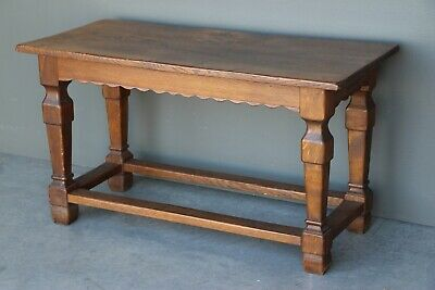 Baronial antique Refectory table solid oak carved Gothic columns patina sturdy