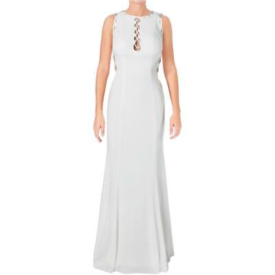 36e0558a3b2787 JVN by Jovani Womens White Cut-Out Open Back Prom Formal Dress Gown 6 BHFO