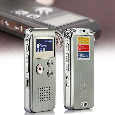 Voice Activated Rechargeable 8GB Digital Sound Audio Recorder Dictaphone